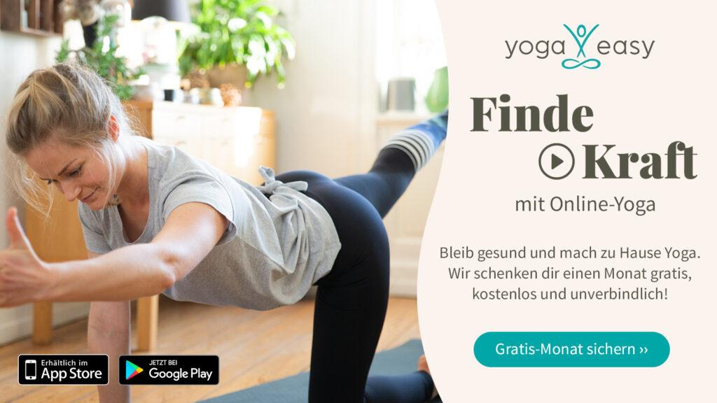 Jetzt mit YoagEasy und Care for Cancer einen Monat Gratis Online-Yoga ausprobieren - kostenlos und unverbindlich.